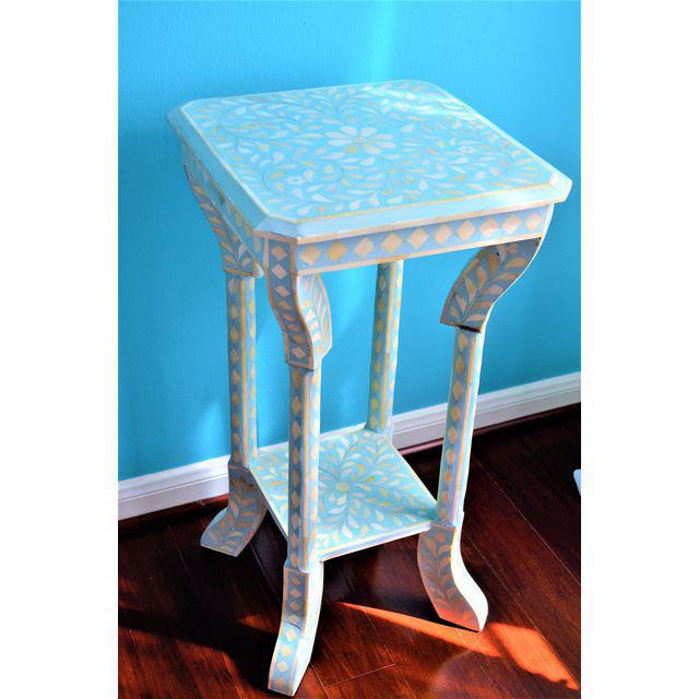 Indian Bone Inlay Side Table - Image 10 of 10