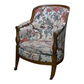 French Armchair With Curved Back and Turned Arms For Sale