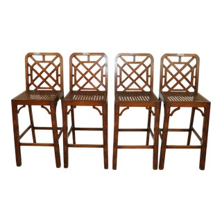 Late 20th Century Chinese Chippendale Fretwork Bar Stools- Set of 4 For Sale