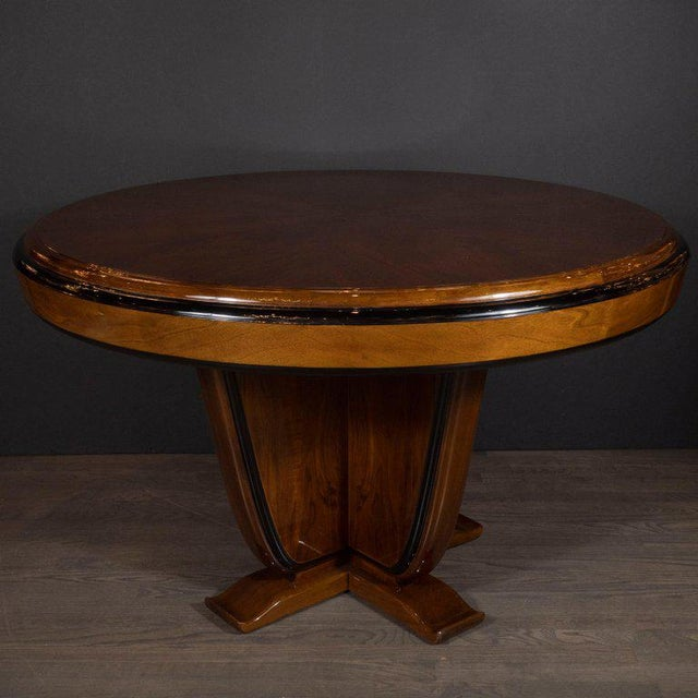 Art Deco Skyscraper Style Walnut & Black Lacquer Dining / Centre Table For Sale - Image 4 of 8
