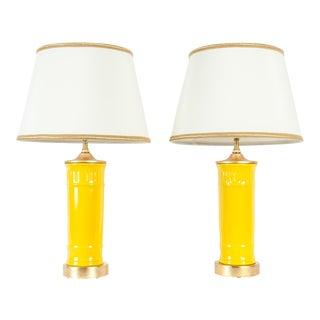 Vintage Porcelain Task / Table Lamps / Gilt Wood Base - a Pair For Sale