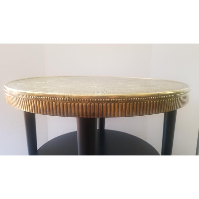 Early 20th Century Vintage Egyptian Revival Brass Top Double Tiered Accent Table For Sale - Image 5 of 11