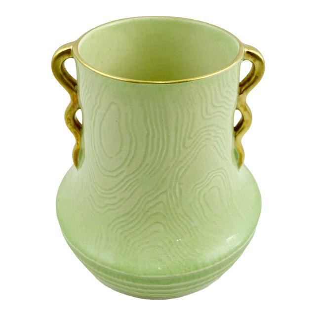 1925 Carlton Ware Art Deco Green Gold Handles Vase For Sale
