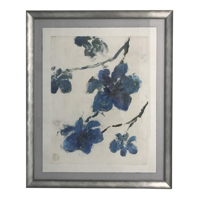 Blue Flowers Monotype in Silver-Tone Frame - Image 1 of 6