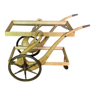 1950s Italian Aldo Tura Goatskin Parchment Swan Bar Cart For Sale