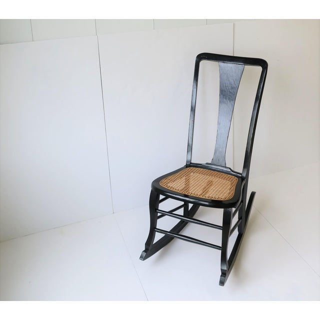 Black Vintage Mid Century Black Lacquer and Cane Rocking Chair For Sale - Image 8 of 13