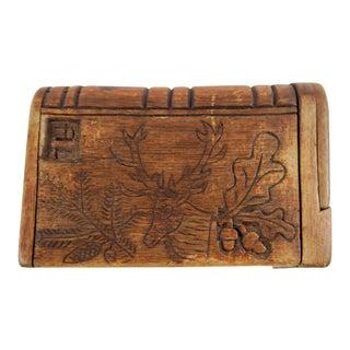 Antique Hand Carved Puzzle Box Match Safe Holder For Sale