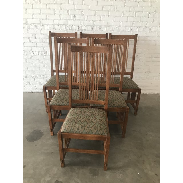 Brown Late 20th Century Arts & Craft Mission Stickley Furniture Oak Side Dining Chairs- Set of 6 For Sale - Image 8 of 8
