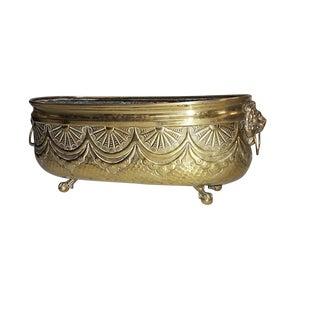 Antique English/Continental Brass Repoussé Art Deco Brass Jardiniere/Planter For Sale
