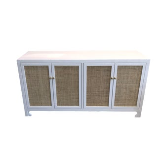 Worlds Away White Cane Four Door Cabinet For Sale