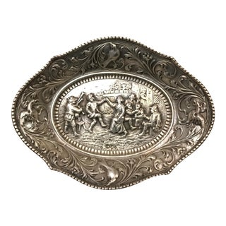 19th Century Traditional Silver Repousse of Dancing With a Bag Pipe Player Village Scene