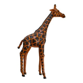 Vintage Brown Leather Giraffe Statue For Sale