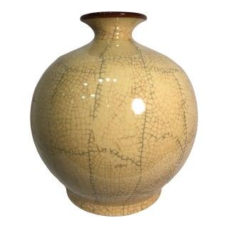 Large Vintage Early 20th Century Chinese Crackle Glaze Porcelain Vase For Sale