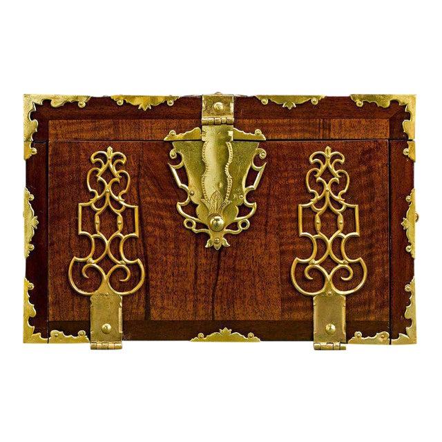English Brass Bound Lock Box For Sale