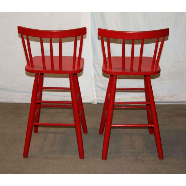 Mid-Century Red Bar Stools - A Pair - Image 3 of 4