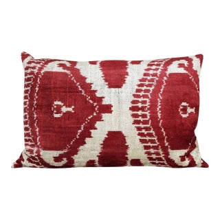 Handsoft Silk Velvet Ikat Pillow For Sale