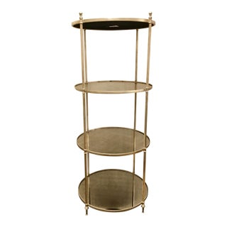 Modern Fluted Silver and Antique Mirror Round Etagere For Sale