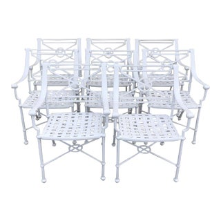 White Outdoor Iron Chairs - Set of 8