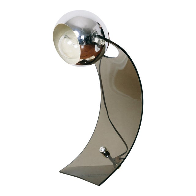 Vintage Smoked Lucite Eyeball Arc Lamp For Sale