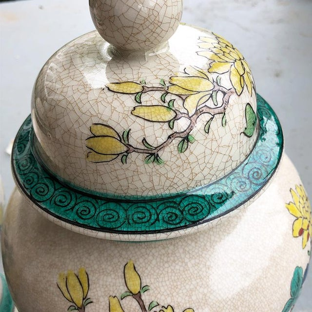 Emerald Green and Yellow Floral Ceramic Ginger Jars or Urns With Lids 20th Century - a Pair For Sale - Image 4 of 6
