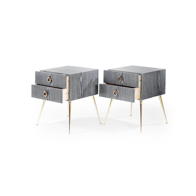 Gibby Collection End Tables in Limed Oak For Sale - Image 4 of 11