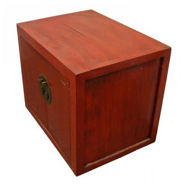 Asian Antique Chinese Red Lacquer Cabinet with Brass Hardware from the 20th Century For Sale - Image 3 of 7