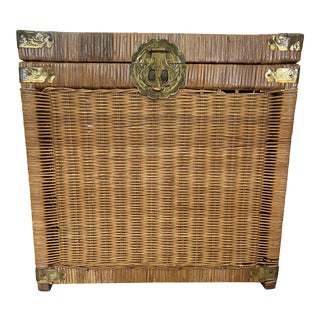 Vintage Rustic Boho Wicker Storage Trunk For Sale