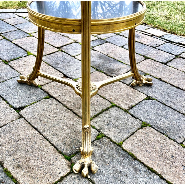 Louis XVI Style Bronze 2 Tier Marble Top Gueridon Table For Sale - Image 4 of 8