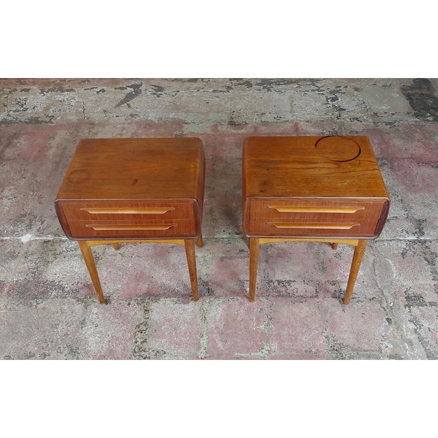 Johannes Andersen-Two Drawer Teak Bedside Tables-Mid century Danish-a Pair. Pair of Two Drawer Teak Bedside Tables or...