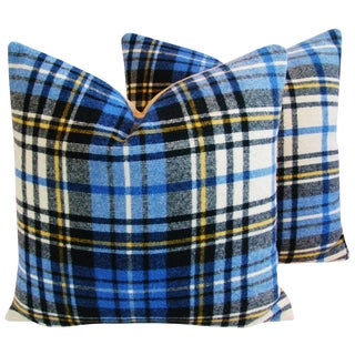 "Blue Scottish Tartan Plaid Wool Pillows 24"" Square - Pair For Sale"