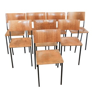 Swedish School Chairs - Set of 8 For Sale