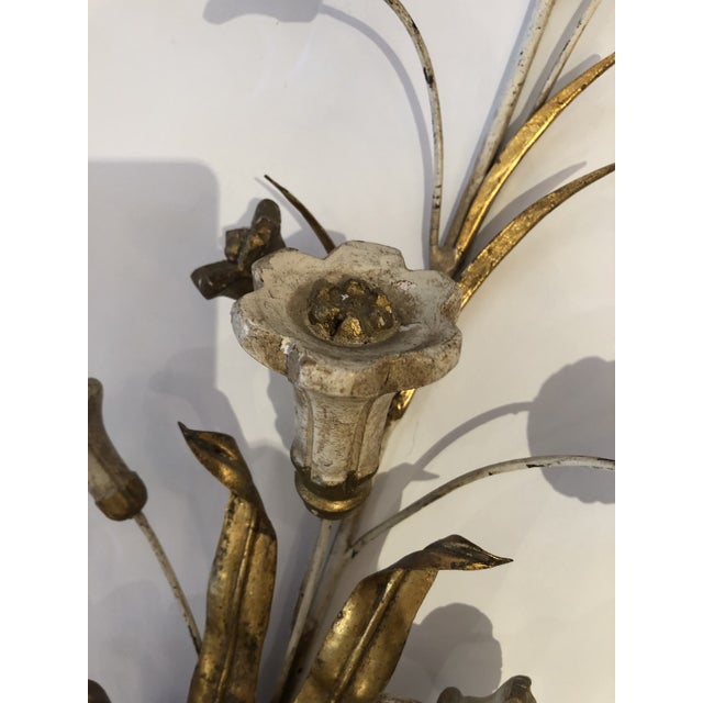 Gold Gilt Iron Carved Wood French Tulip Motife Candle Sconces -Pair For Sale - Image 4 of 13