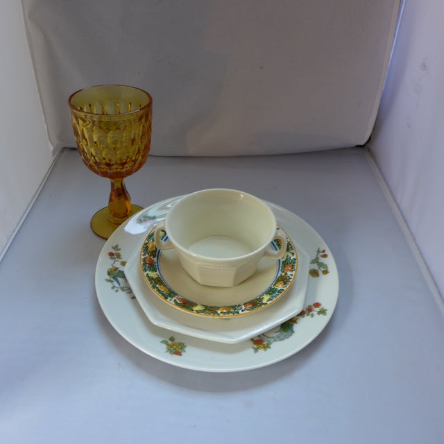 Set of five vintage mismatched tableware pieces. Adorable lunch setting with water glass and plates. - Lunch Plate with...