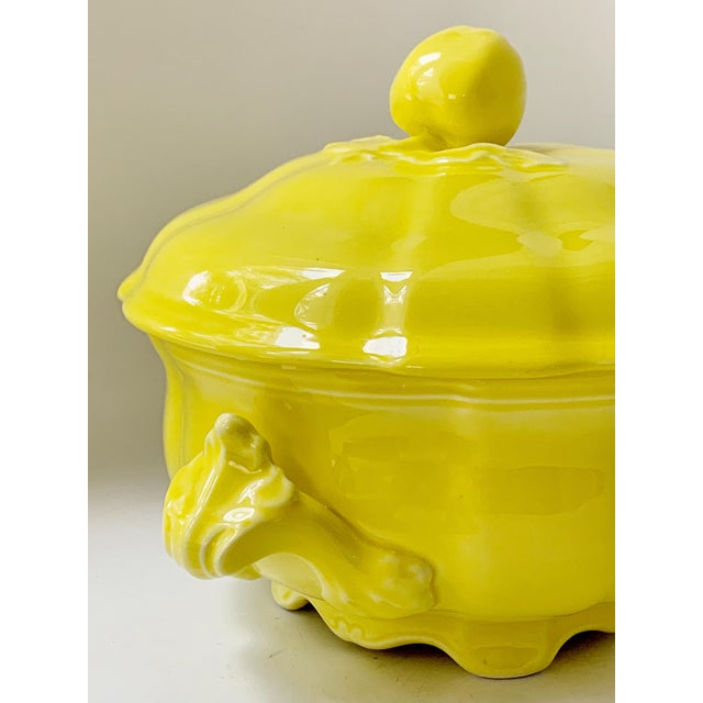 Ceramic Vintage Ca. 1950s Luneville Tradition France Louis XV Yellow Tureen For Sale - Image 7 of 10