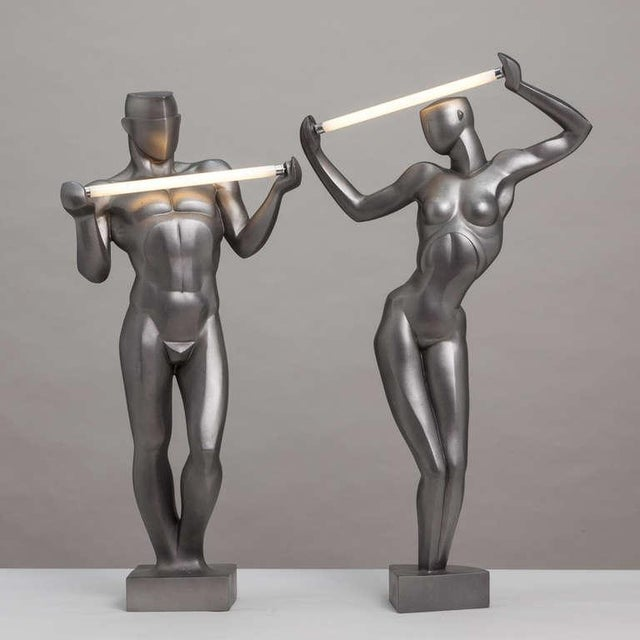 A Rare Pair of Spanish Resin Figural Lamps 1985 Stamped - Image 2 of 6
