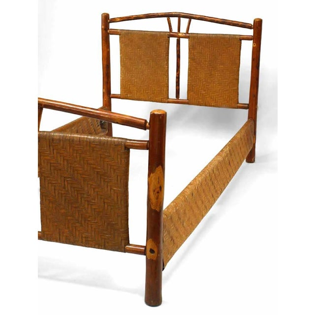 Rustic Old Hickory single size bed with natural woven design with three spindles (headboard, footboard, rails). Since 1899...
