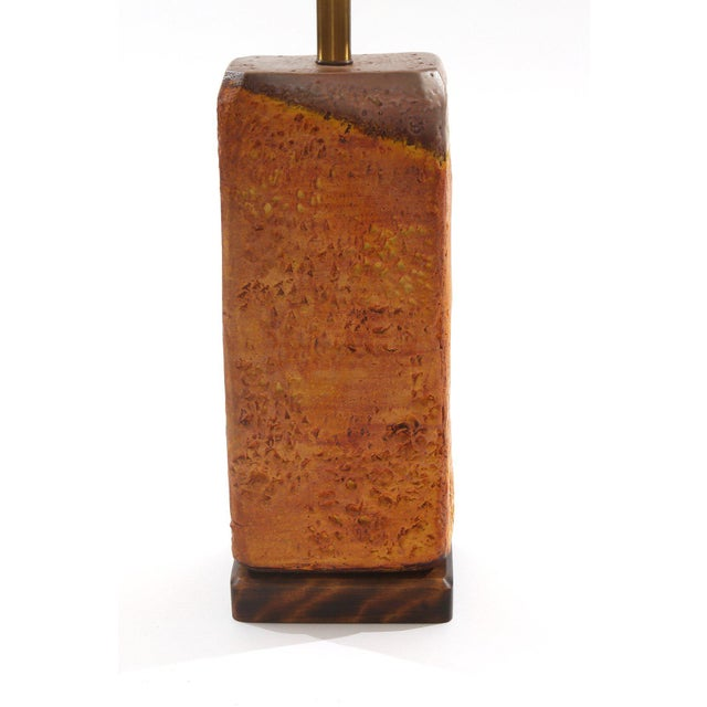 Marcello Fantoni for Raymor ceramic table lamp circa late 1950s. This example mixes hues of browns oranges and reds with a...