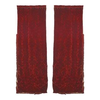 Burgundy Cut-Velvet Drapes For Sale