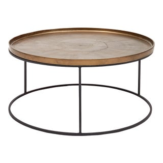 Antique Brass Contemporary Bailey Coffee Table For Sale