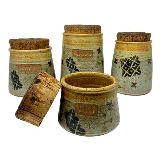 1960s Pottery Canisters With Chunky Cork Lids, Signed - Set of 4 For Sale