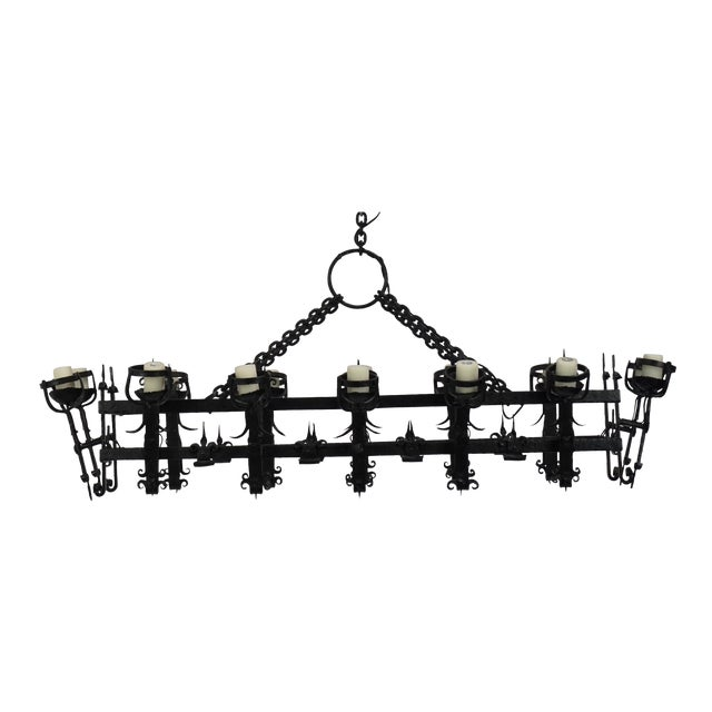 Henry III Style Hand Wrought Iron Chandelier For Sale