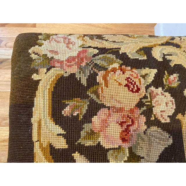 Brown Vintage Needle Point Drum and Flower Design Bench For Sale - Image 8 of 10