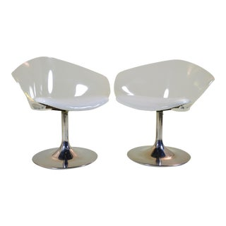 Pair of Chrome and Lucite Space Age Chairs For Sale