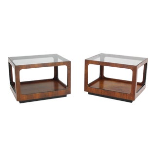 Mid-Century Modern Rectangular Cube Shape Glass Top Walnut End Tables - a Pair For Sale