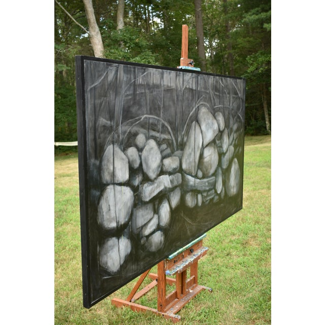 Large Painting of a Stone Wall For Sale - Image 10 of 11