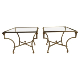 Pair of Maison Jansen Style Steel and Brass Italian Side Tables For Sale