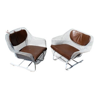 1950s Mid-Century Modern Woodard Sculptura Patio Rocking Chairs - a Pair