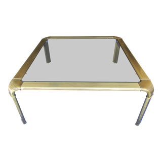 John Widdicomb Brass and Glass Coffee Table For Sale