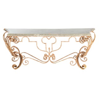Italian Rococo Style Iron Faux Painted Console Table For Sale