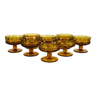 Vintage 1960s Amber Kings Crown Low Coupes, Set of 8 For Sale
